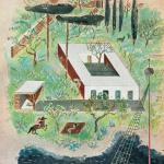 jardín y piscina; inferior: alzado frontal de la vivienda