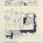 jardín y piscina; lateral derecho: corte transversal del terreno con vivienda