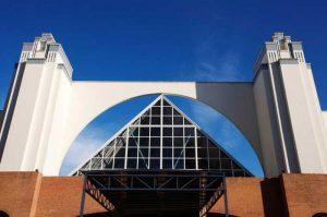 Detalle del halla de entrada a la Estación de Autobuses de Málaga, fotografía de Carlos Canal.