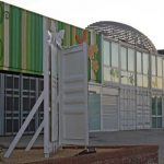 Edificio de usos múltiples del Jardín Botánico de la UMA. Fachada principal Detalle (foto Rodríguez Marín)