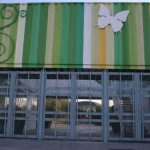 Edificio de usos múltiples del Jardín Botánico de la UMA. Portada de acceso. Detalle (foto Rodríguez Marín)
